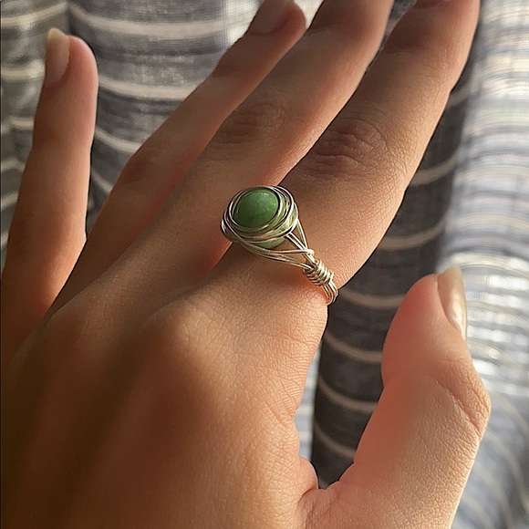 Wire Wrapped Ring Mint Quartz Ring Homemade